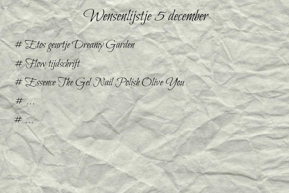 Wensenlijstje 5 december