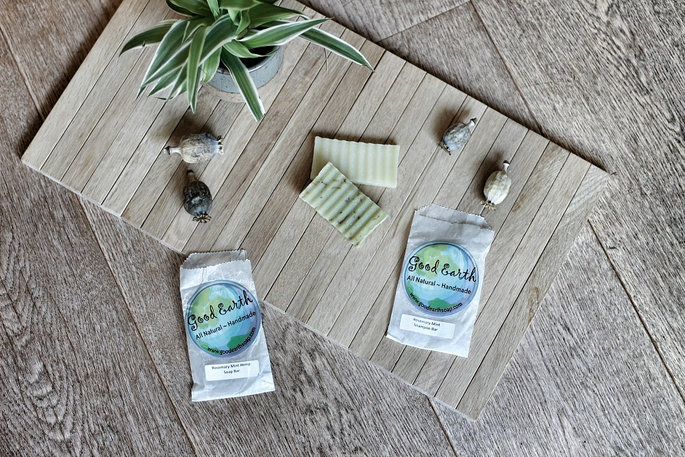 Good Earth Rosemary Mint Shampoo Bar & Rosemary Mint Hemp Soap Bar